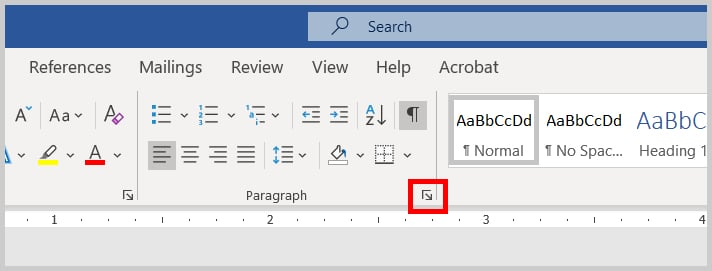 Paragraph Dialog Box Launcher in Word 365 / Word 2019
