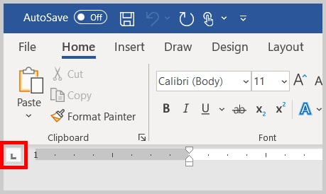 Tab selector button in the Word 365 / Word 2019
