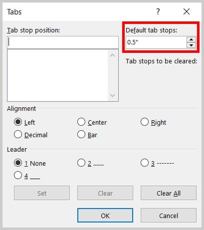 Tabs dialog box Default Tab Stops in Word 365 / Word 2019
