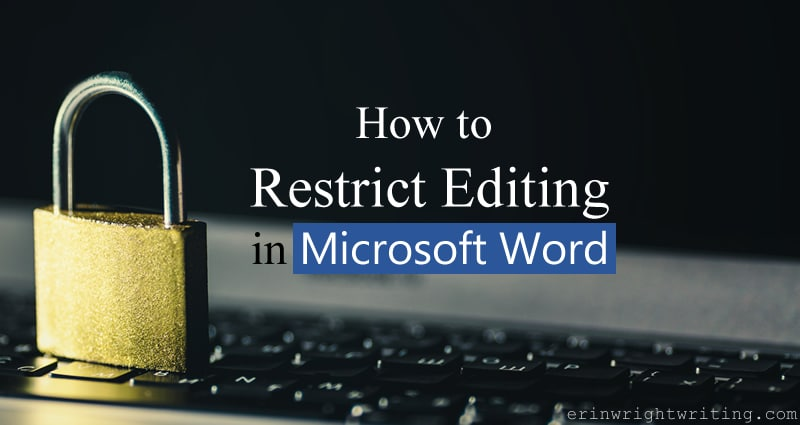 "Metal lock on keyboard with ""How to Restrict Editing in Microsoft Word"" Text Overlay"