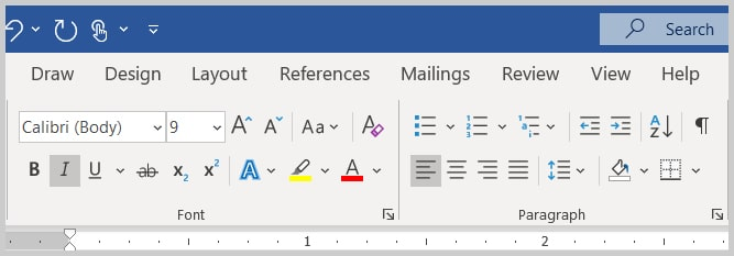 Font and Paragraph groups in Word 2019/Word 365