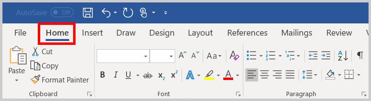 Home tab in Word 2019/Word 365