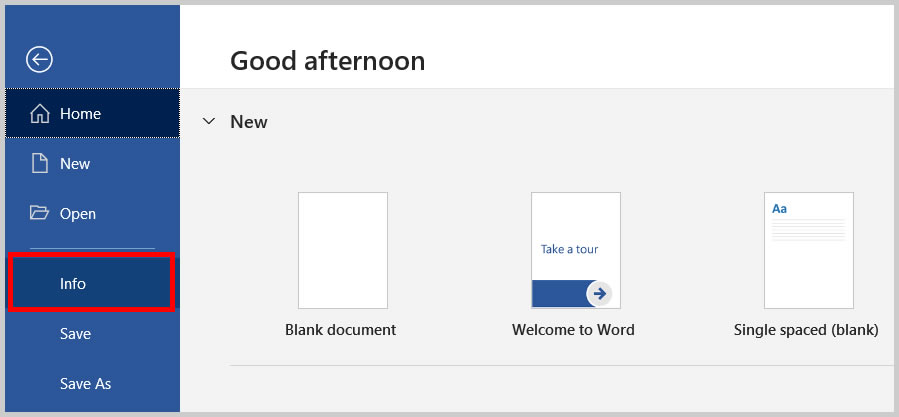 Info tab in the Backstage view of Word 365/Word 2019