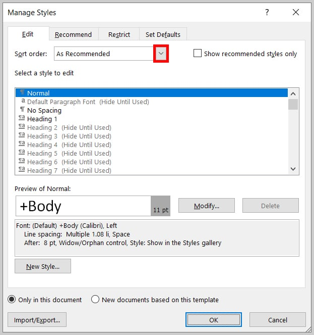 """Sort order"" menu arrow in the Manage Styles dialog box in Word 2019/Word365"