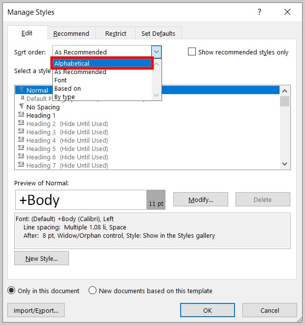 """Sort order"" menu in the Manage Styles dialog box in Word 2019/Word 365"