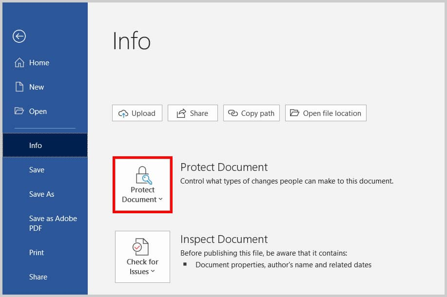 Protect Document button in Word 365/Word 2019