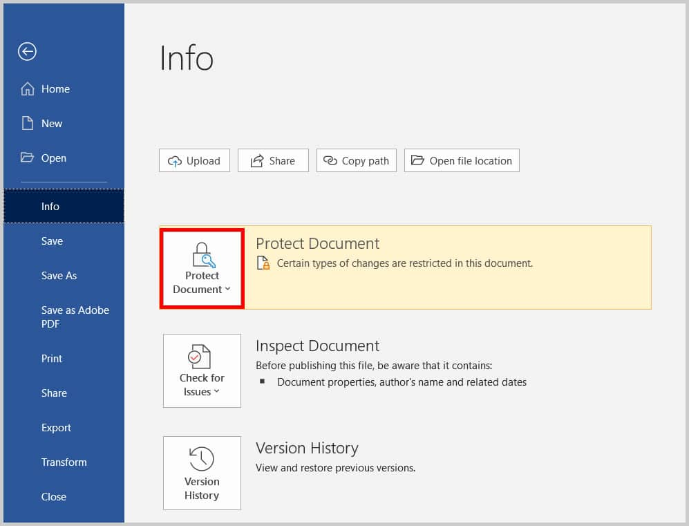 Protect Document button in Word 365/Word 2019 after protections set