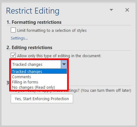 Restrict Editing task pane editing restrictions menu