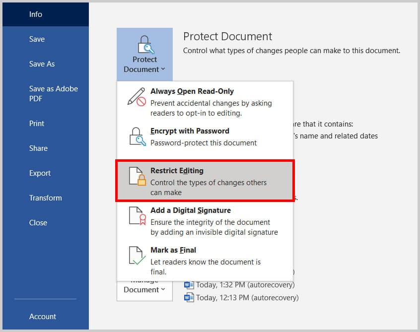 Restrict Editing in Word 365/Word 2019 Backstage view