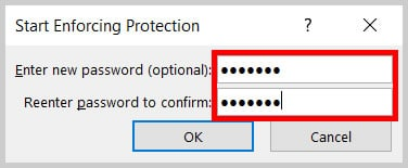 Start Enforcing Protection dialog box password text boxes in Word 365/Word 2019