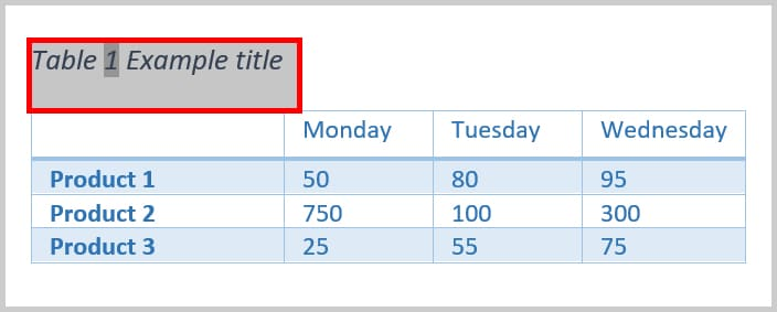Table title selected in Word 2019/Word 365