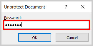 Password text box in the Unprotect Document dialog box in Word 365/Word 2019