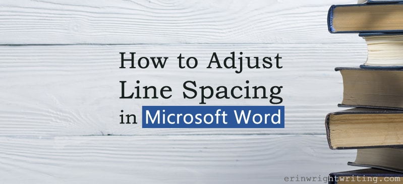 "Stack of books against wood wall with text overlay ""How to Adjust Line Spacing in Microsoft Word"""
