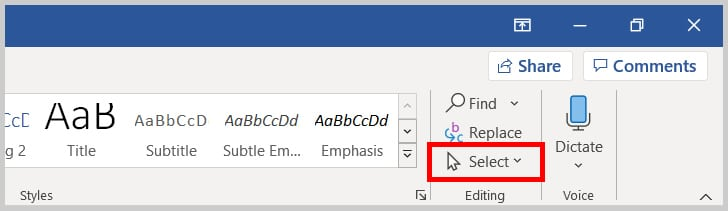 Select in the Editing group in Word 365/Word 2019