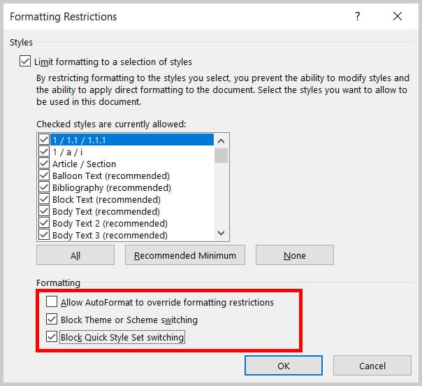 Formatting option checkboxes in the Formatting Restrictions dialog box in Word 365/Word 2019