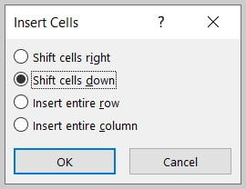 Insert Cells dialog box in Word 365