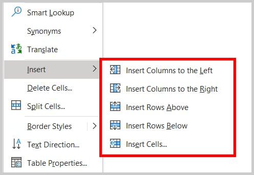 Insert columns and rows menu in Word 365