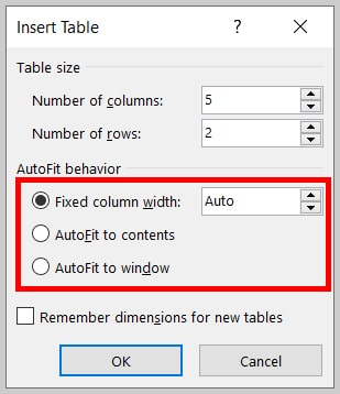 AutoFit behaviors in the Insert Table dialog box in Word 365