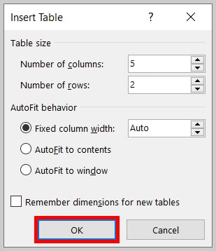 OK button in the Insert Table dialog box in Word 365