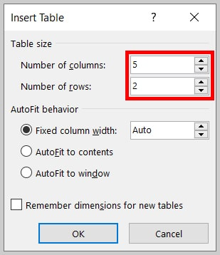 Number of columns and rows in the Insert Table dialog box in Word 365