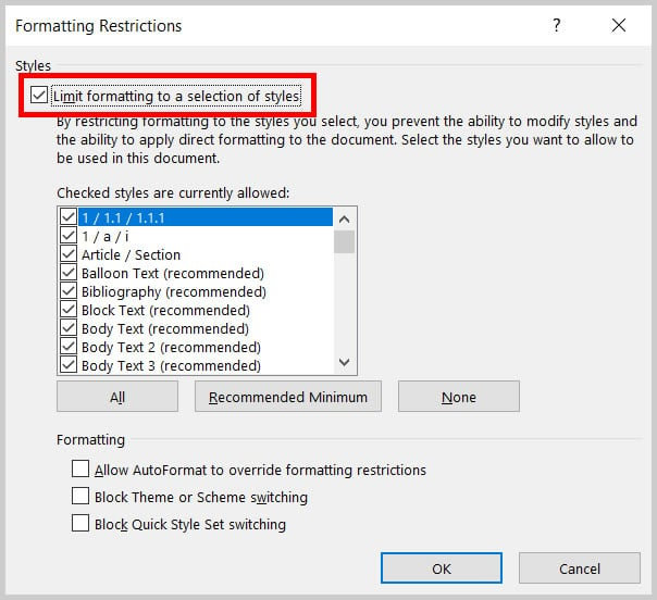 """Limit formatting to a selection of styles"" checkbox in the Formatting Restrictions dialog box in Word 365/Word 2019"