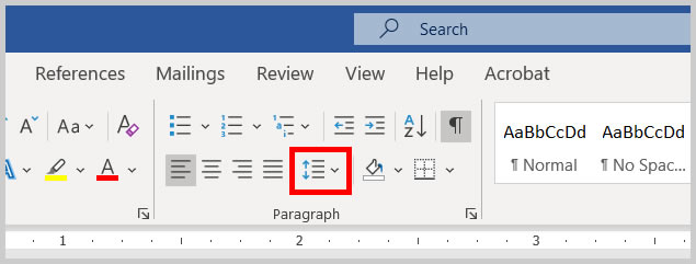 Line and Paragraph Spacing button in Word 365