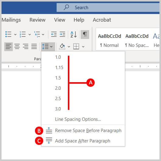 Line and Paragraph Spacing menu in Word 365