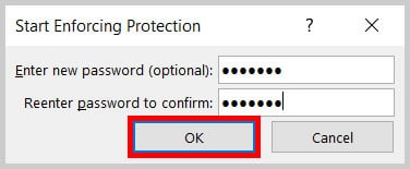 OK button in the Start Enforcing Protection dialog box in Word 365/Word2019
