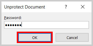 Unprotect Document OK button in Word 365/Word 2019