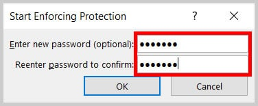 Start Enforcing Protection passsword text boxes in Word 365/Word 2019