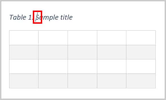 Cursor in table title in Word 365/Word 2019