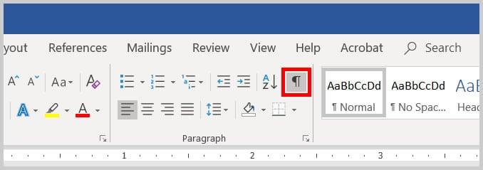 Show Hide button in Word 365