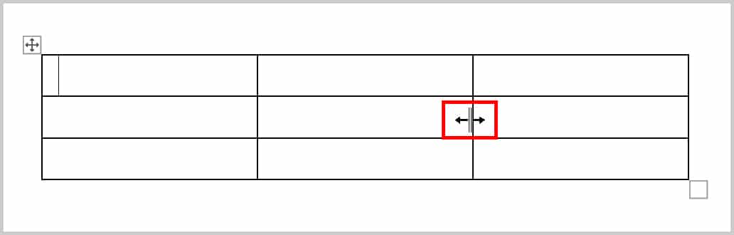 Table resizing pointer in Word 365