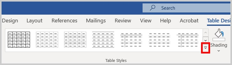 Table Styles menu arrow in Word 365