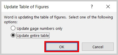 Update Table of Figures dialog box OK button in Word 365/Word 2019