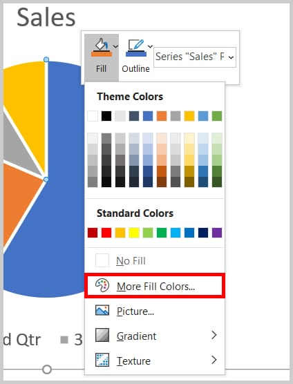 More Fill Colors option in Word 365
