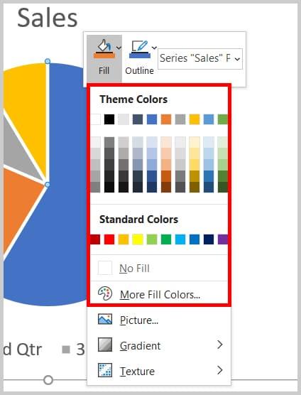Fill color menu