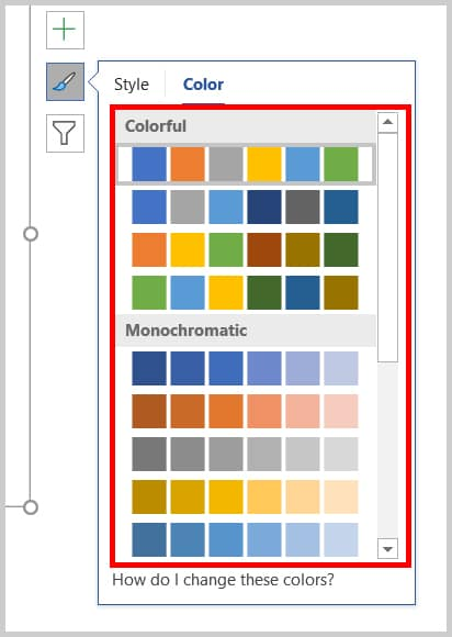 Chart color palettes in Word 365