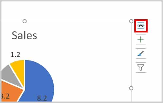 Chart Layout Options button in Word 365