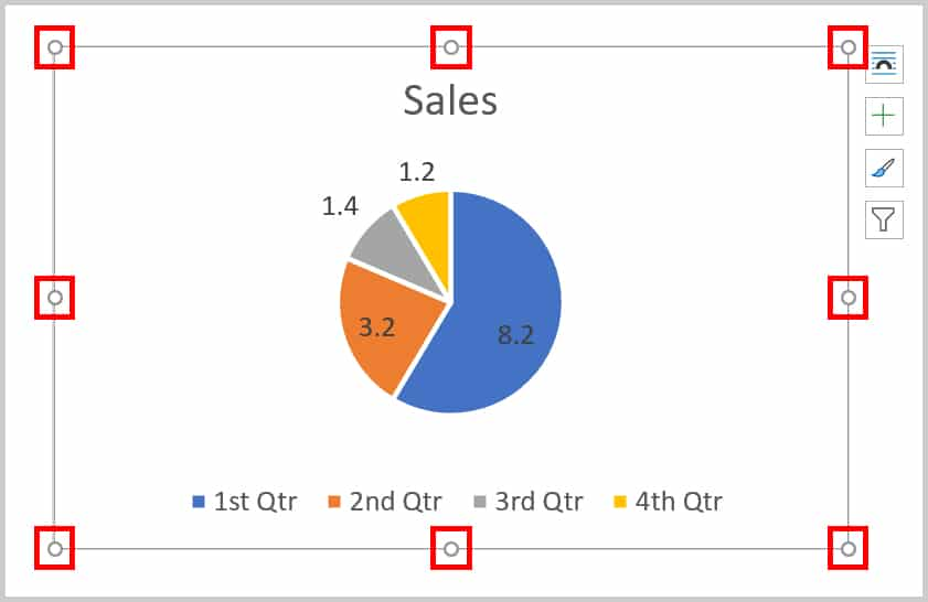 Chart resizing handles in Word 365
