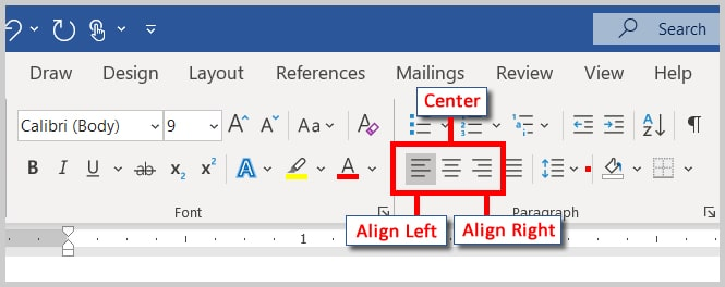 Align Left, Center, and Align Right buttons in Word 365