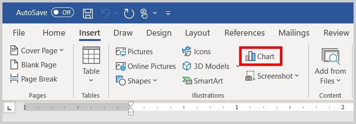 Chart button in Word 365