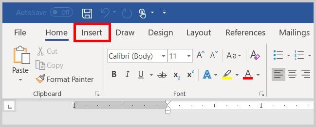Insert tab in Word 365