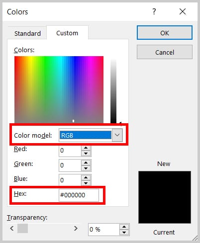 Colors dialog box color model menu in Word 354