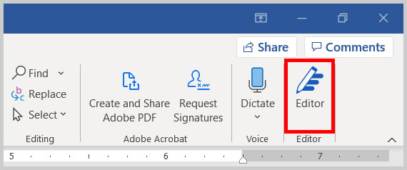 Editor button in Word 365