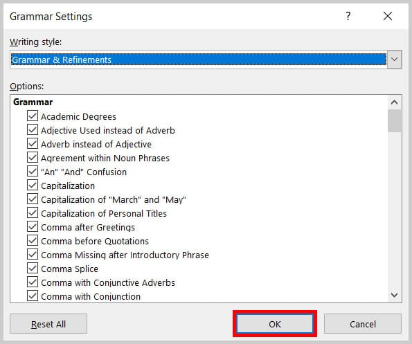 OK button in the Grammar Settings dialog box in Word 365