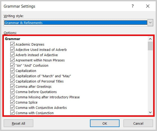 Grammar Settings dialog box in Word 365