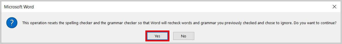 Recheck document dialog box in Word 365