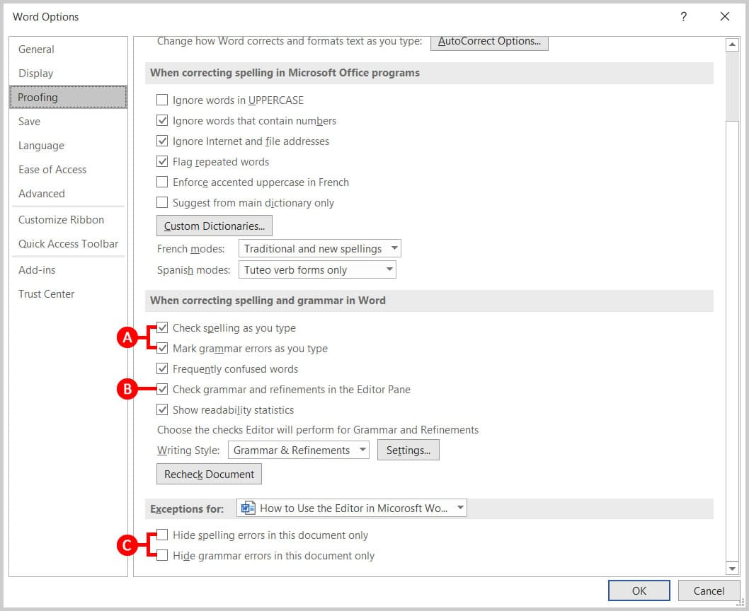 Proofing options in the Word Options dialog box in Word 365