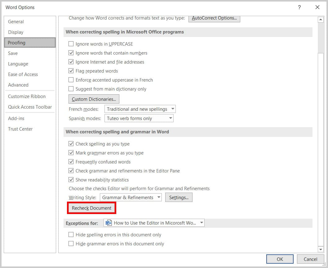Recheck Document button in the Word Options dialog box in Word 365